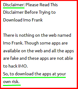 Imo Frank App Apk disclaimer